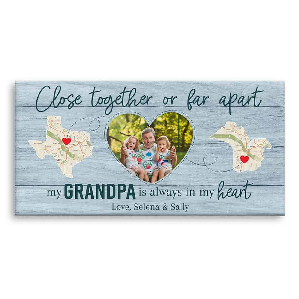 State Map Canvas Print personalized grandpa gift