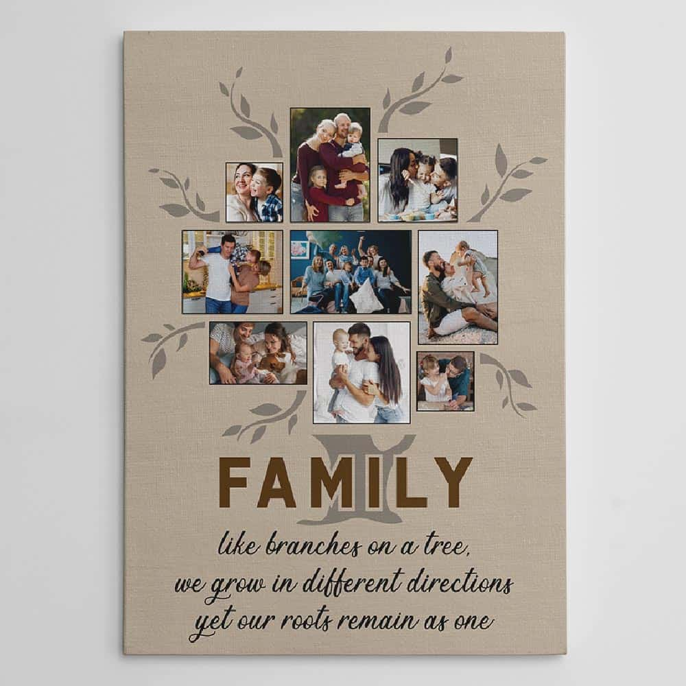 Family Like Branches On A Tree Photo Collage Canvas Print personalized grandpa gift