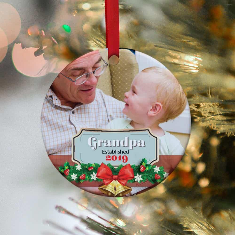 Grandpa Established Photo Christmas Ornament
