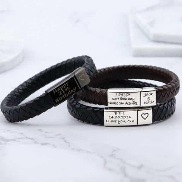 custom couple gifts: Stainless Steel Engraved Bracelet