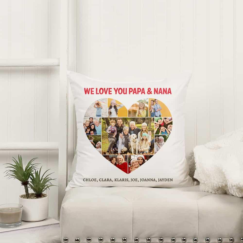 We Love You Papa & Nana Custom Photo Pillow