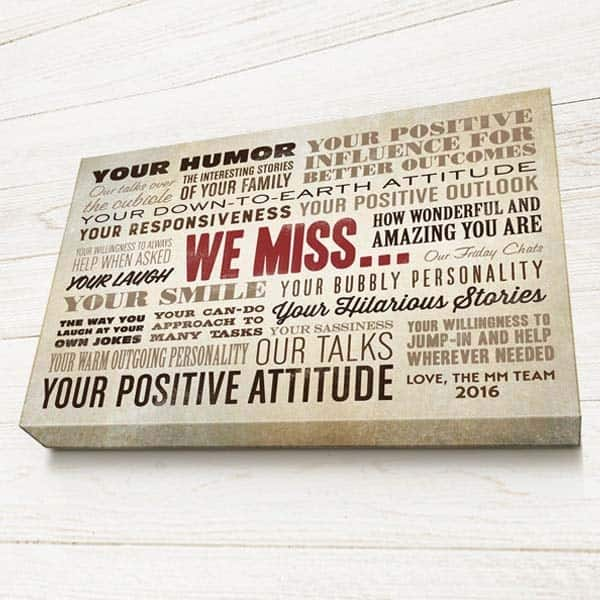 gift ideas for someone leaving a job: We Miss You Sign