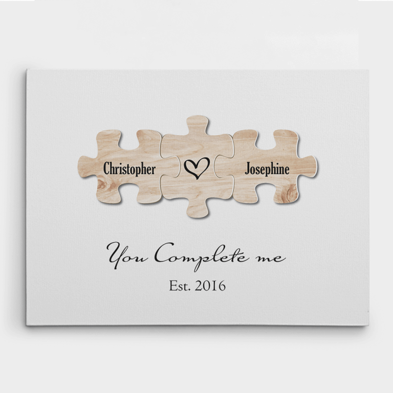 """""""You Complete Me"""" Puzzle Canvas Print – 6th Anniversary Gifts"""