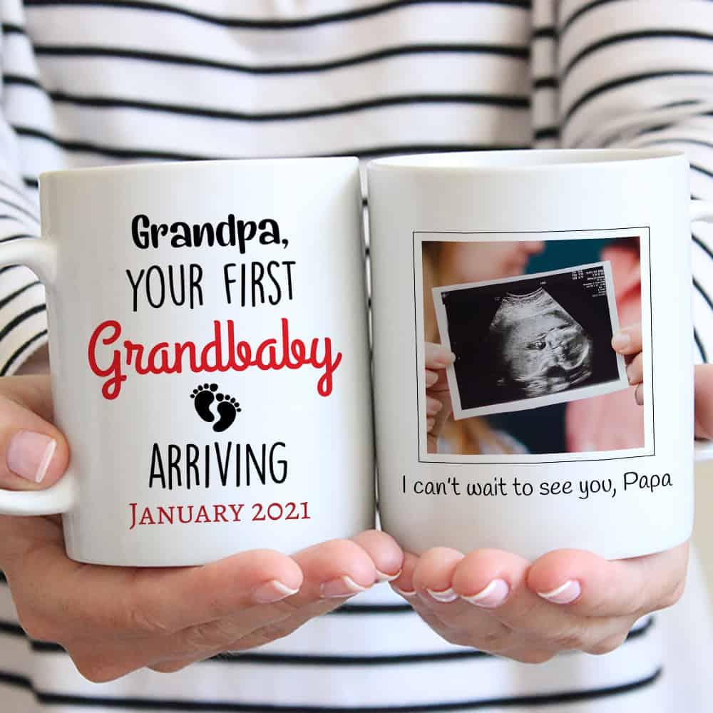 Your First Grandbaby Arriving - Sonogram Coffee Mug for New Grandad