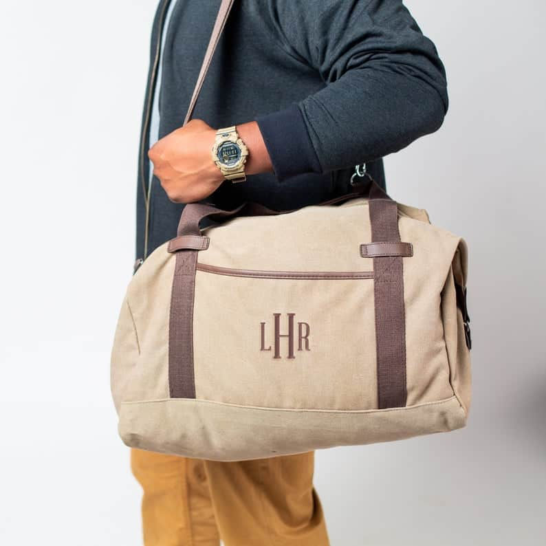 embroidered duffel bag for men