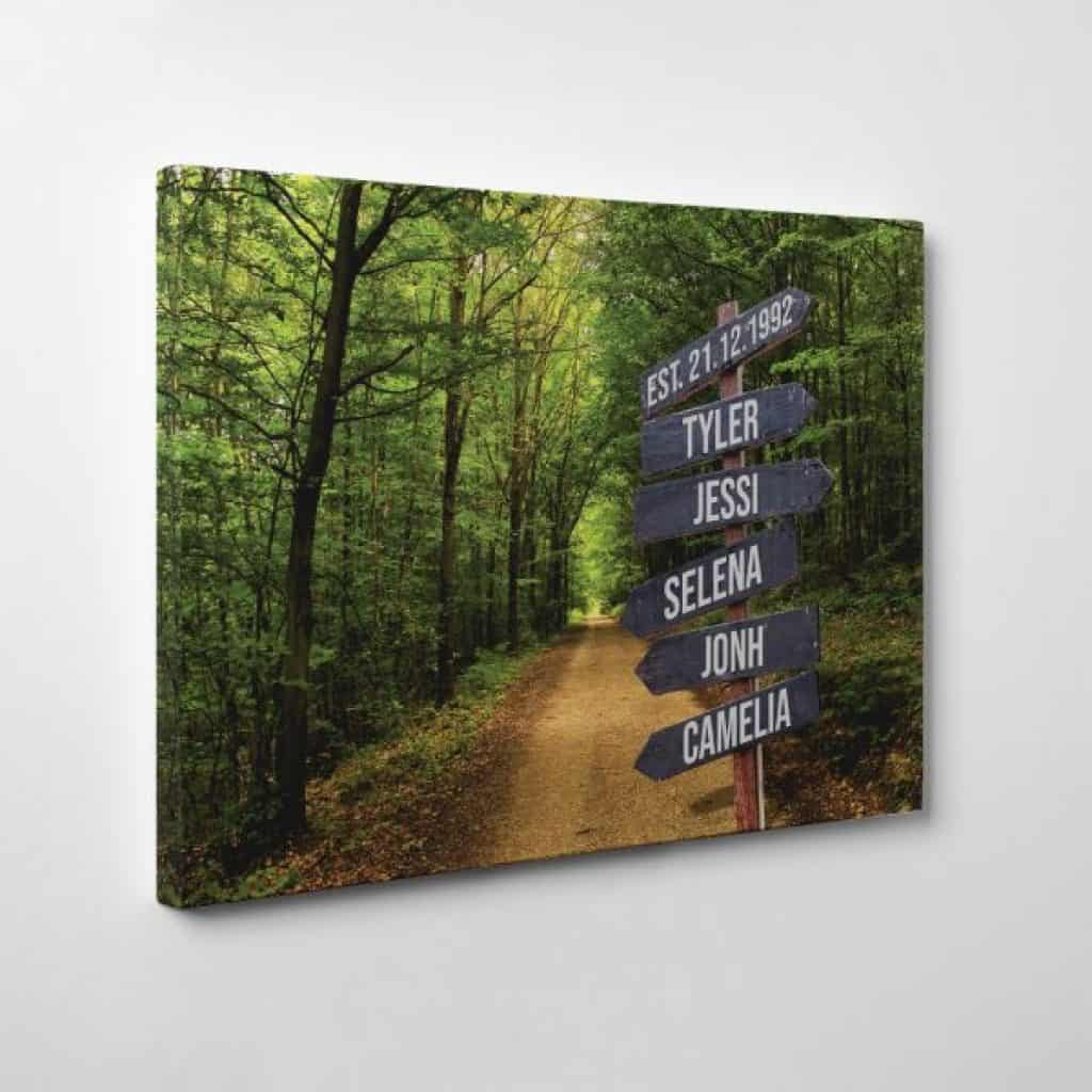 Family Street Sign Custom Canvas Print – Forest - 60th anniversary gift