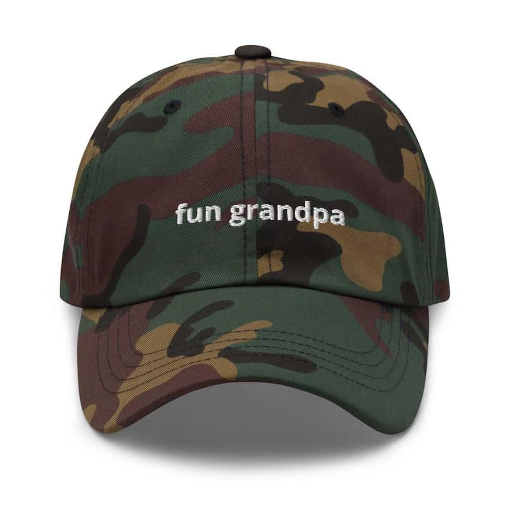 a green camo hat with the words fun grandpa