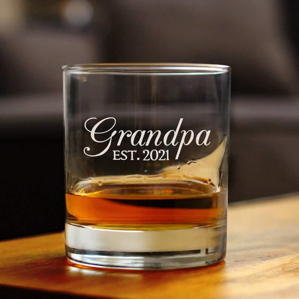 grandpa est 2021 whiskey glass gift for new grandfather