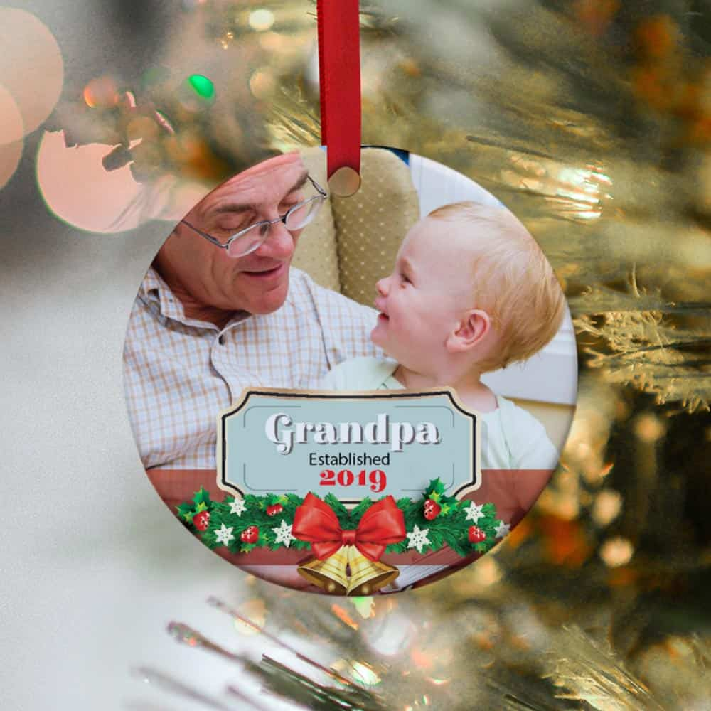 a photo ornament gift with new grandad established year