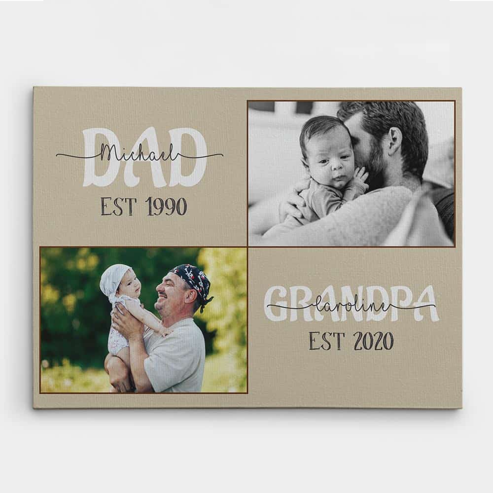 a gift idea for a new grandad: photo canvas print with established year