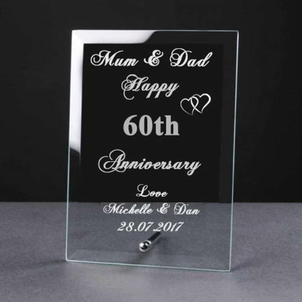 Personalised Engraved Glass Plaque Elegant - 60th anniversary gift