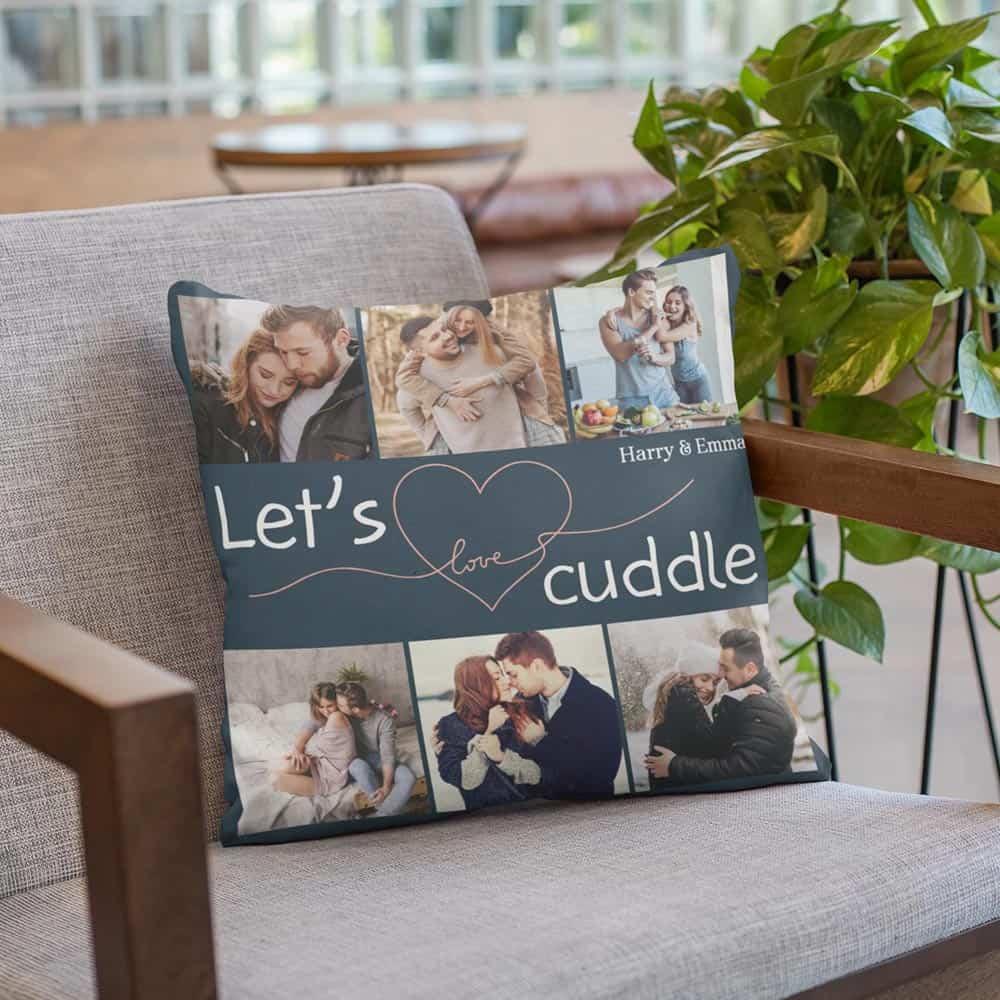 let's cuddle custom photo throw pillow