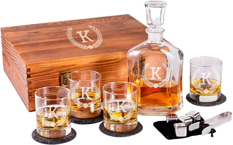 personalized birthday gifts for husband: engraved whiskey decanter set