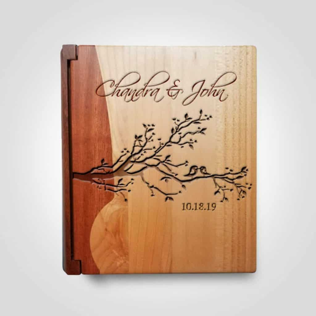 Personalized Wood Photo Album - 60th anniversary gift