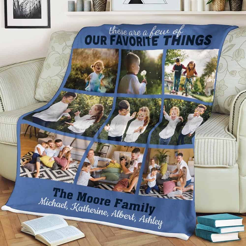 a photo collage blanket as a gift for husband on fathers day