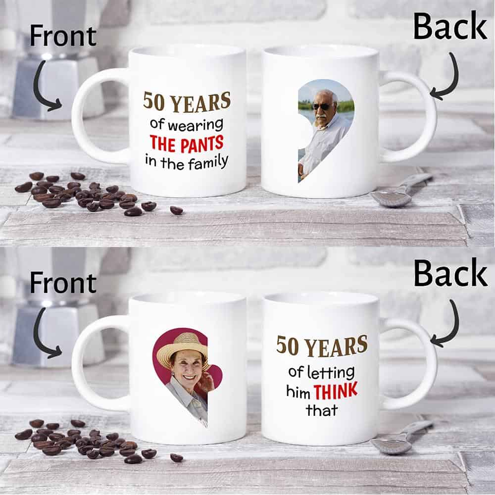 50 Years of Wearing The Pants Couple Photo Mugs