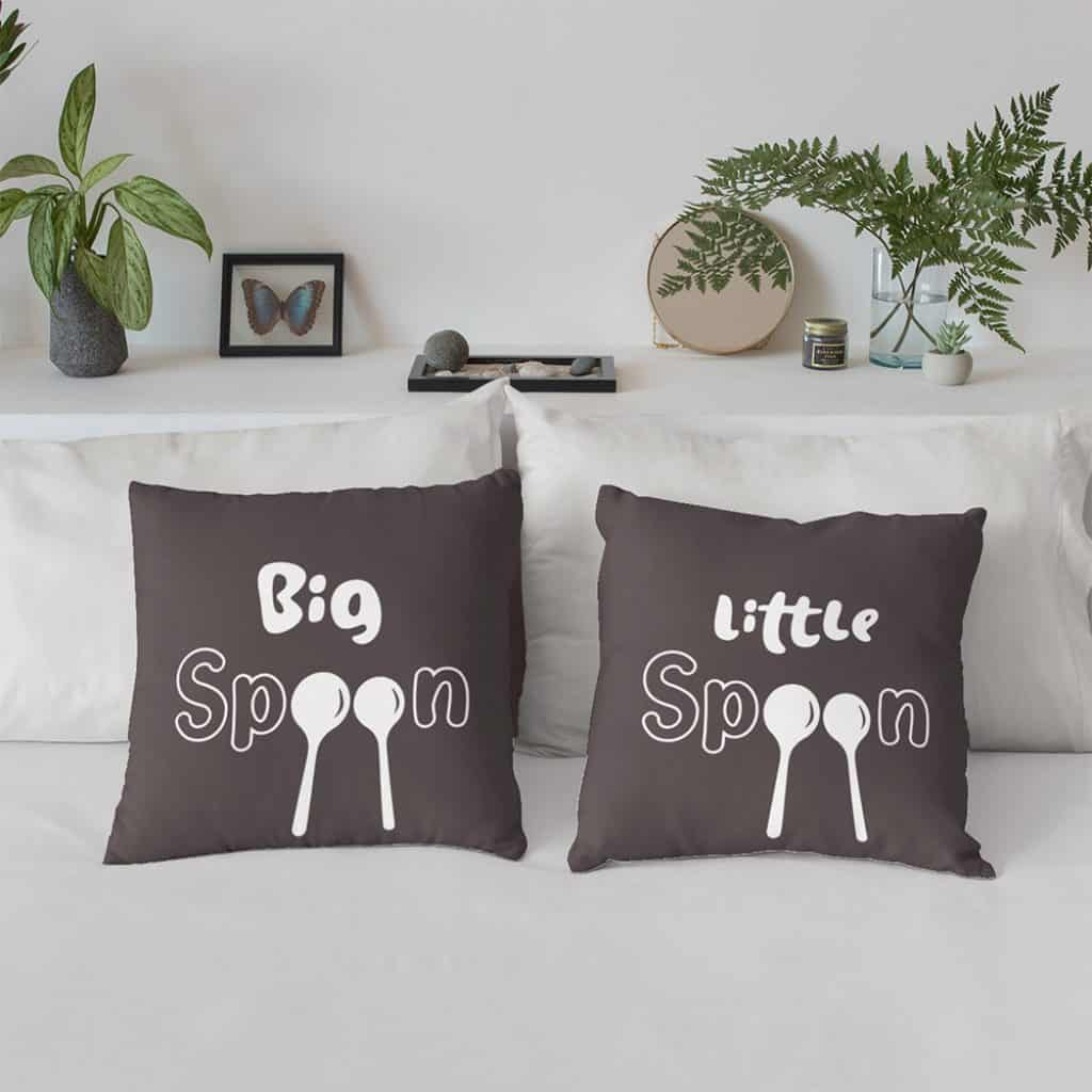 Big Spoon Little Spoon Pillows Set Gift for funny boyfriends