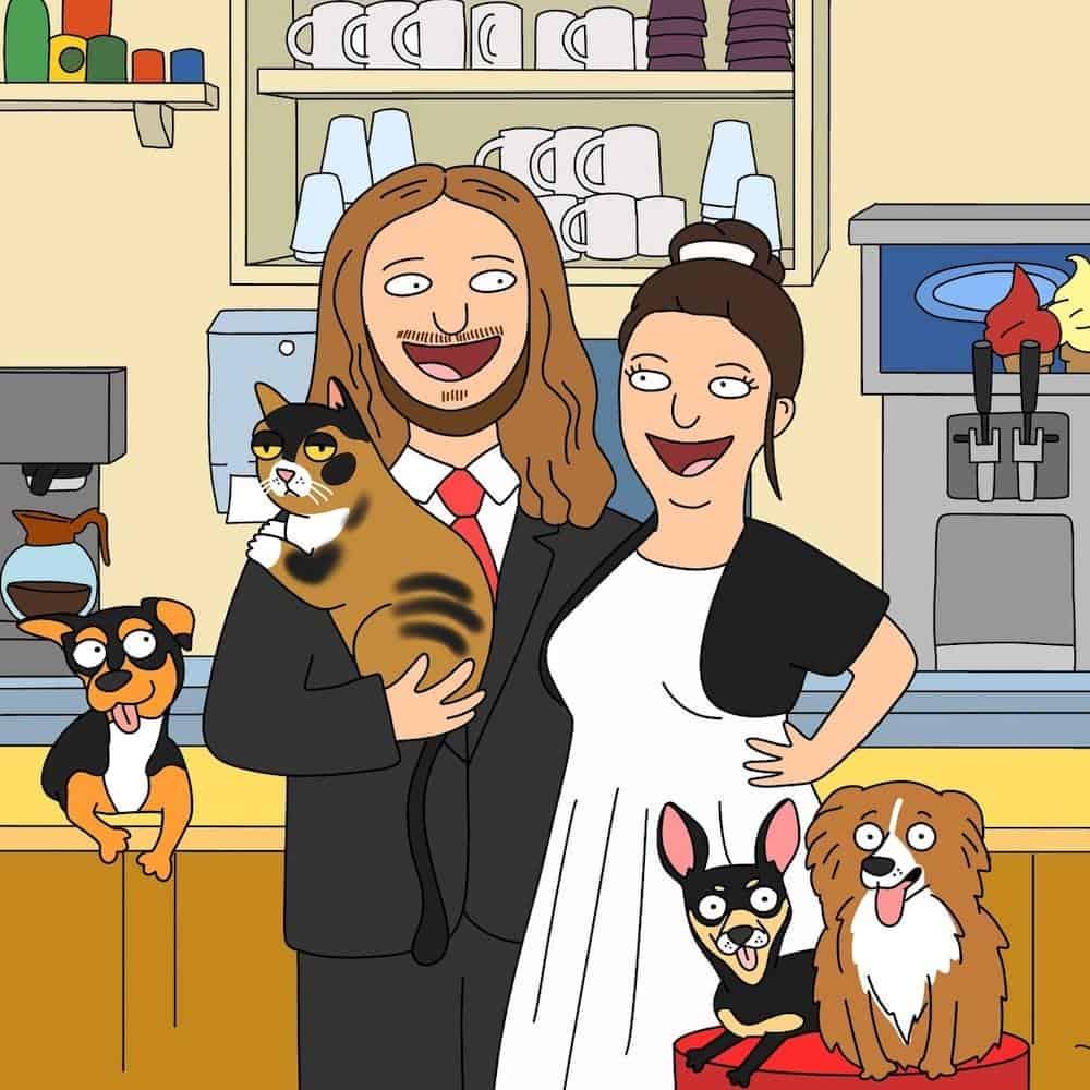 a funny cartoon portrait for wedding anniversary