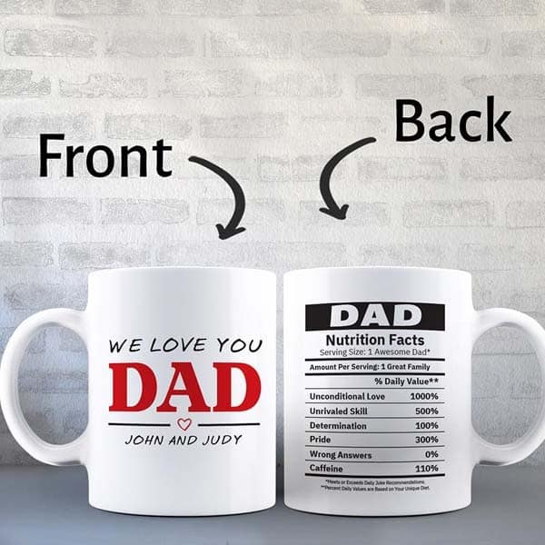 Custom Dad Nutrition Facts Custom Mug