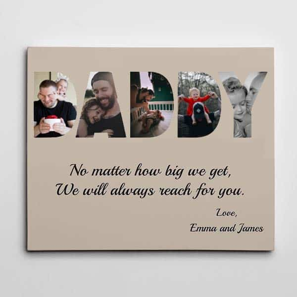 meaningful personalized gifts: DADDY Letter Custom Canvas