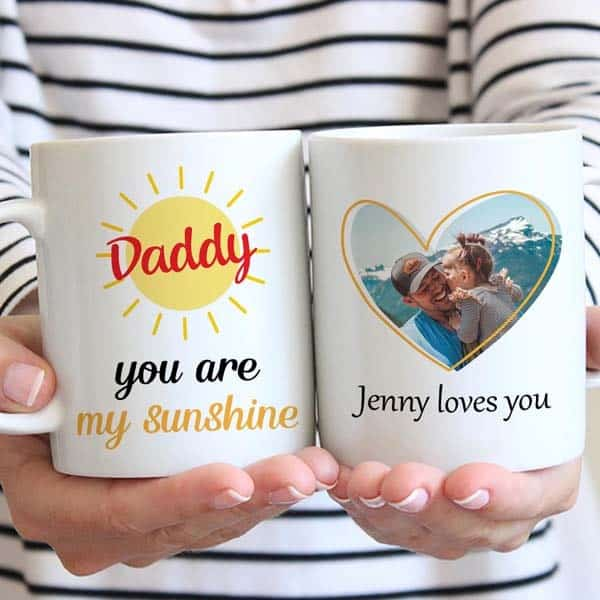 custom dad gifts: Daddy, You Are My Sunshine Photo Mug