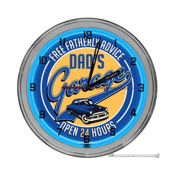 dad personalized gifts: Dad's Garage Custom Neon Wall Clock