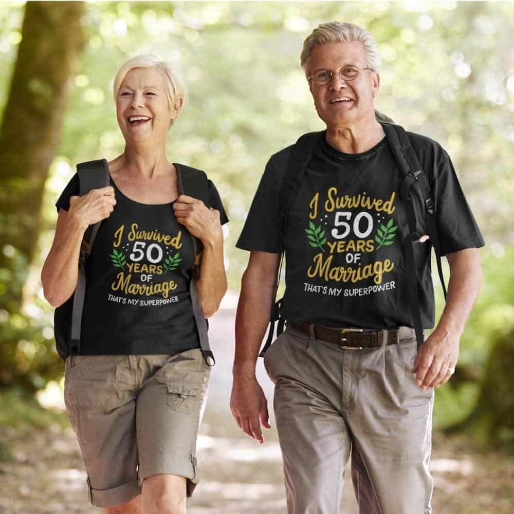 an old couple wearing matching t shirts with the quote i survived 50 years of marriage