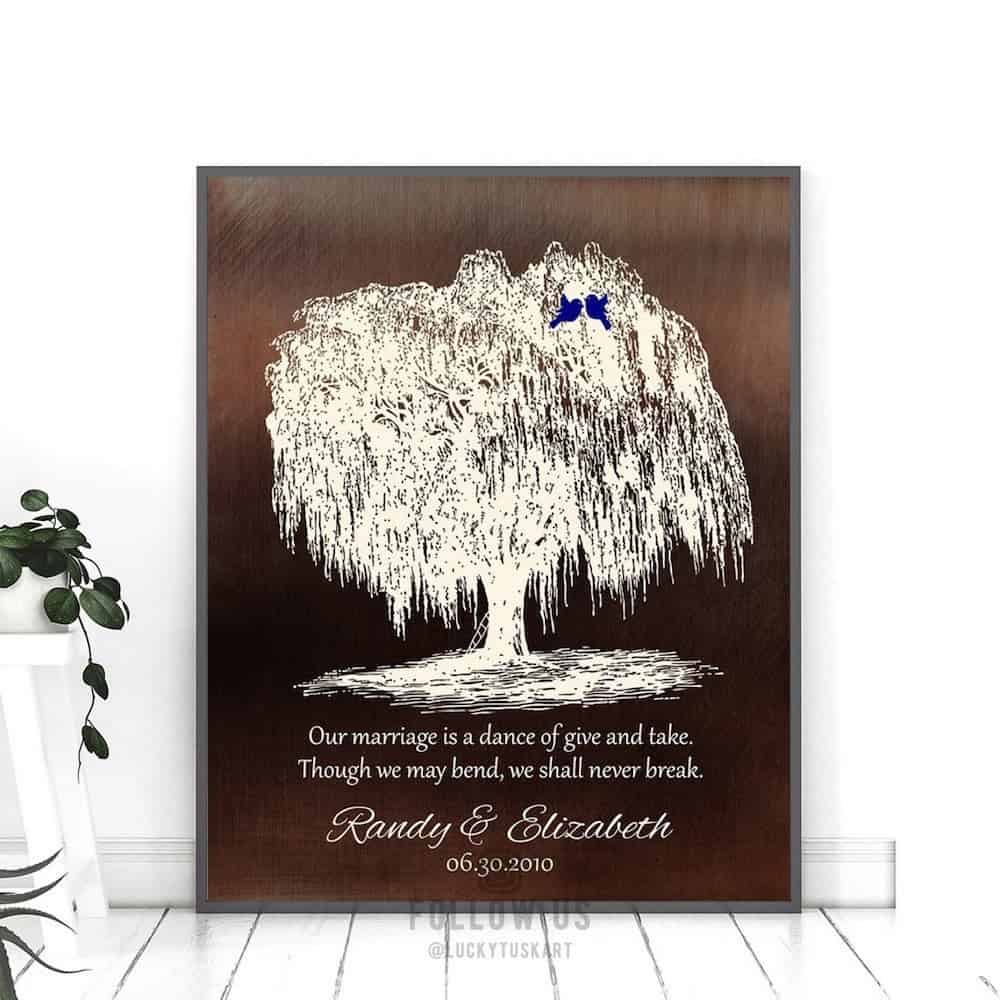 Personalized Willow Tree Print as traditional 9th anniversary gift