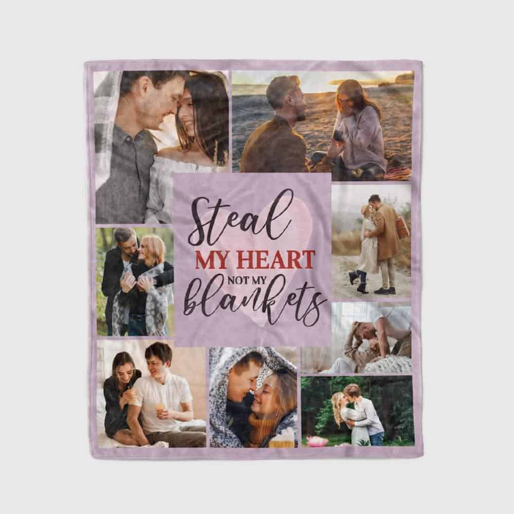 A photo collage blanket gift with a funny saying to boyfriend