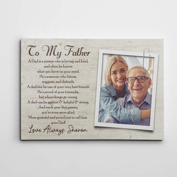 dad photo gifts: To My Father Poem Canvas