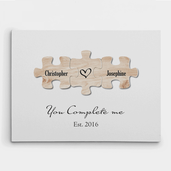 You Complete Me Puzzle Canvas Print 5th anniversary gift