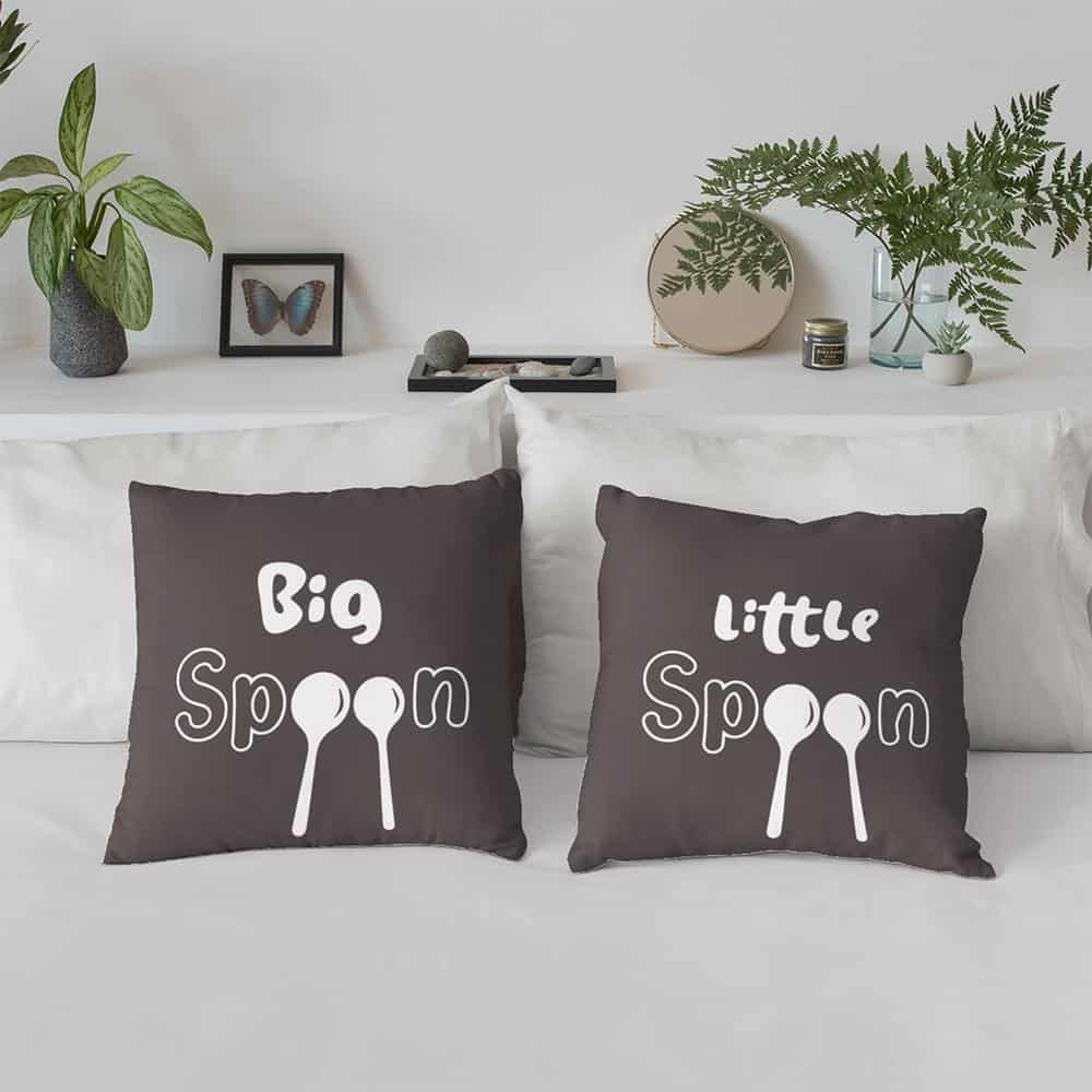 a couple pillow set with the words big spoon little spoon