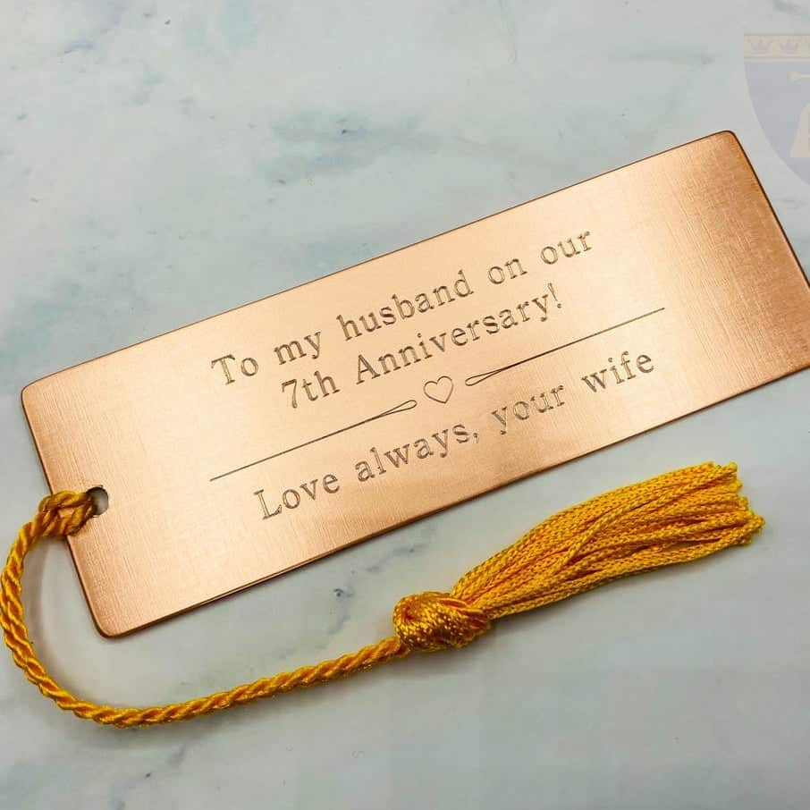 copper book mark - traditional 7th anniversary gift