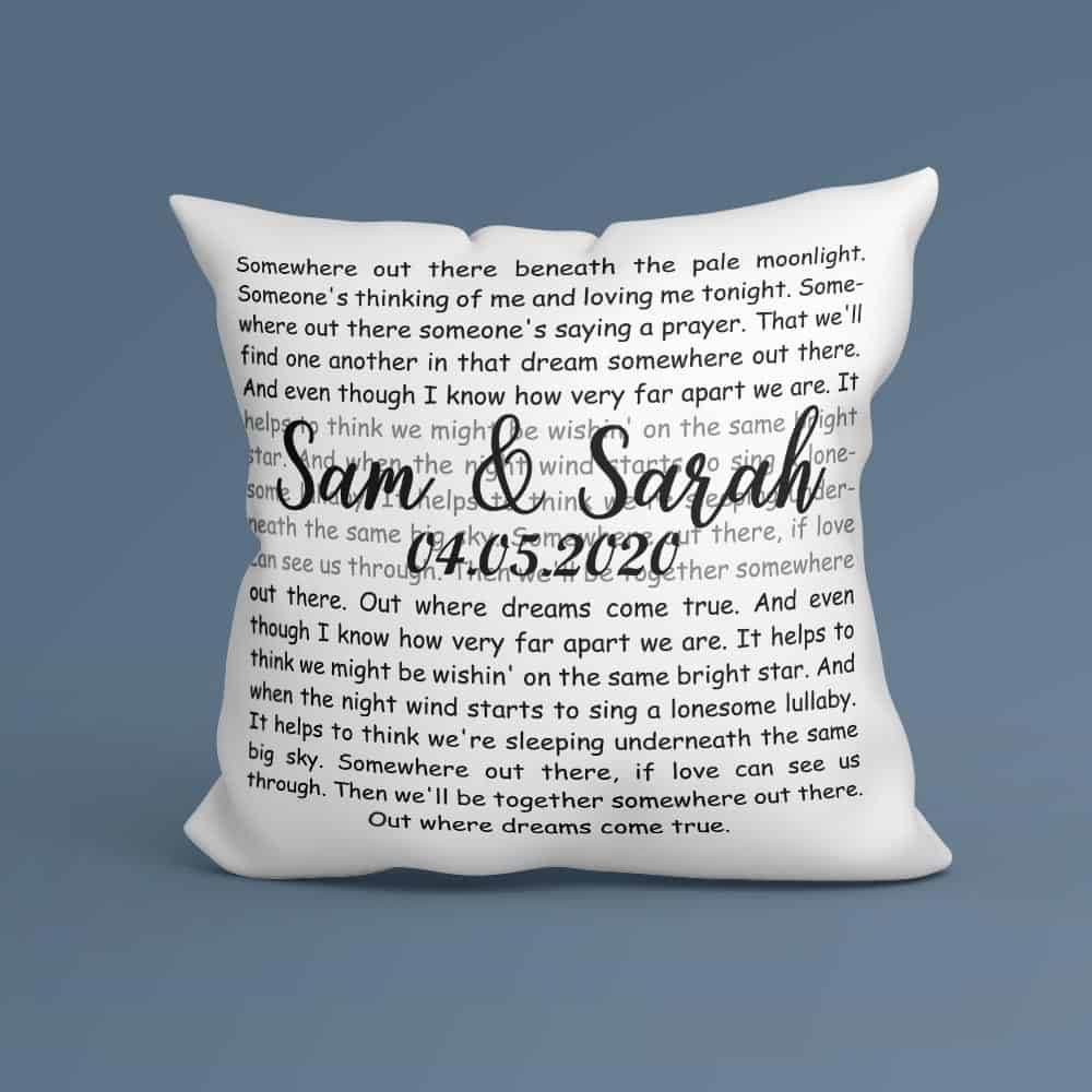 custom pillow with song lyrics - traditional 2nd anniversary gift