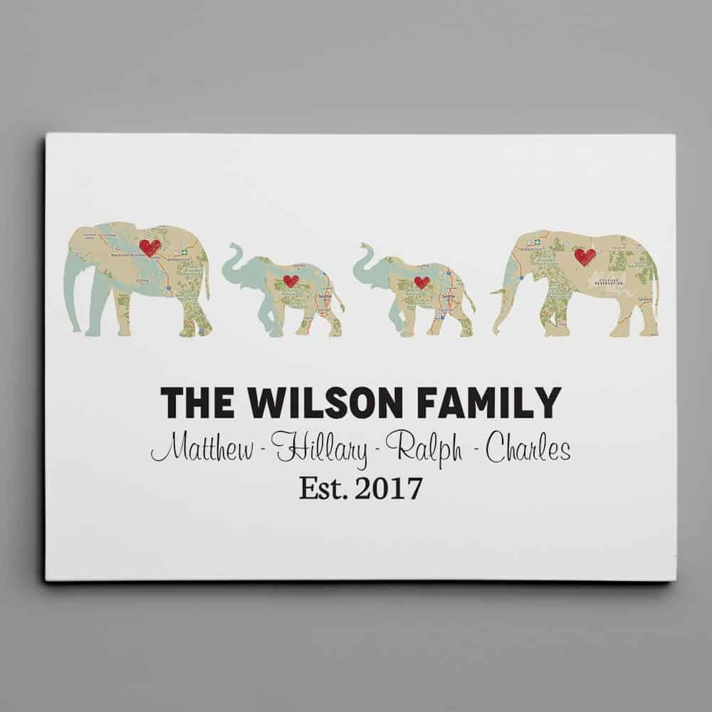 elephant family retro map canvas print - traditional 14th anniversary gift