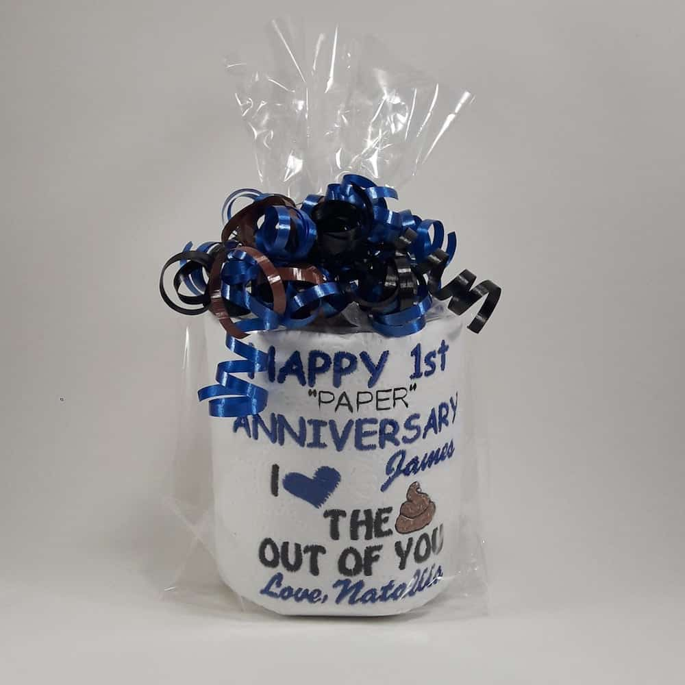 Embroidered Toilet Paper 1st Anniversary Gift