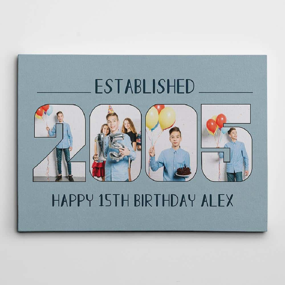 Birth year photo collage canvas print birthday gift for younger brother
