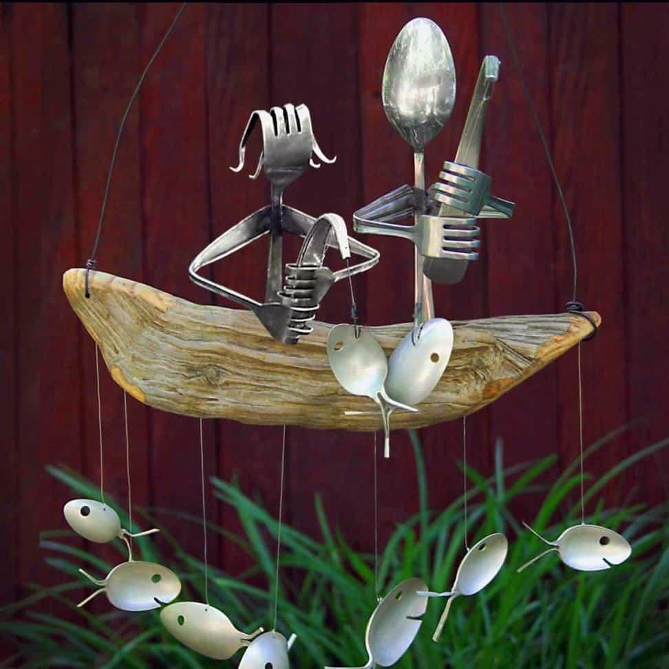flatware fishing couple gift - modern 5th wedding anniversary gift