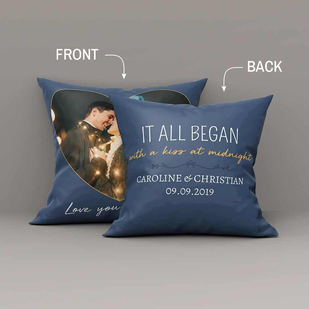 a pillow gift for boyfriend with a funny saying It All Began With