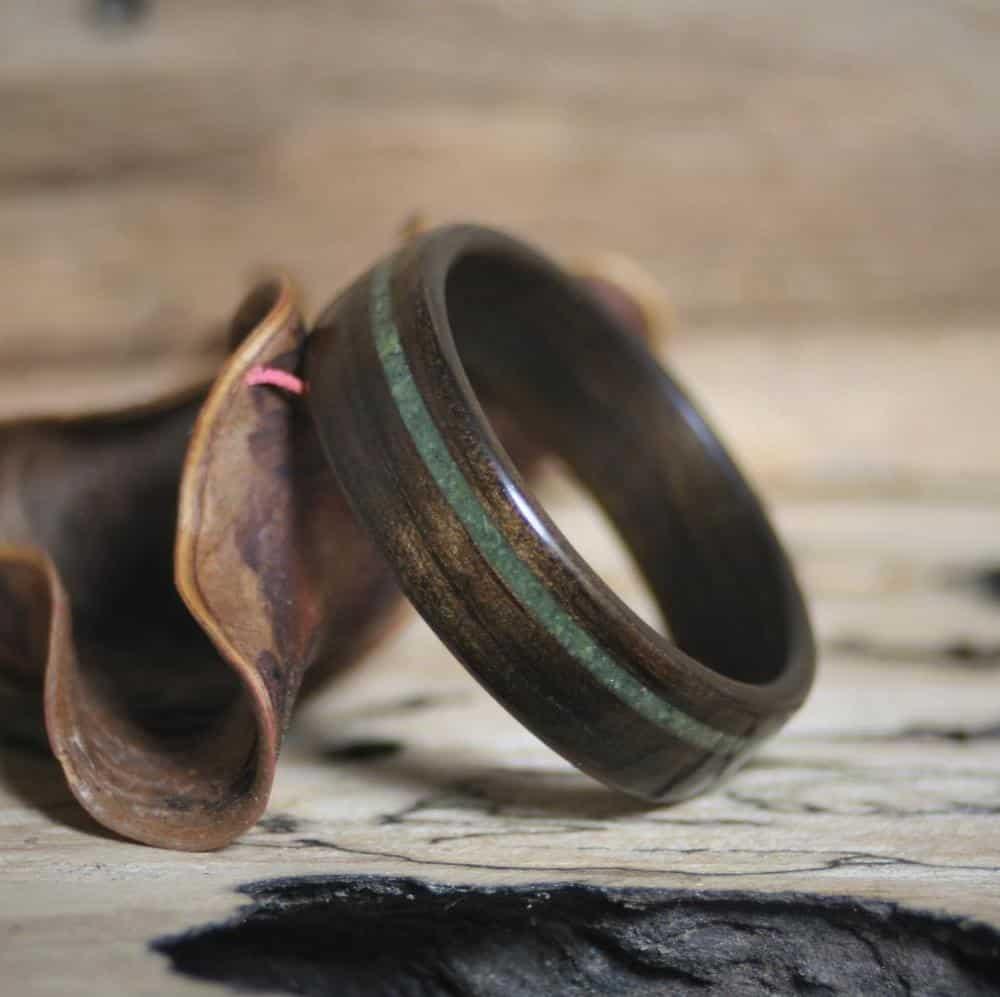 jade wood ring - modern 35th anniversary gift