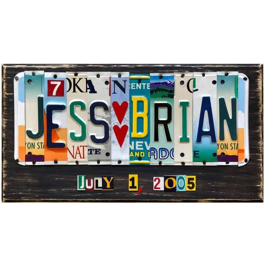 license plate sign - traditional 10-year anniversary gift