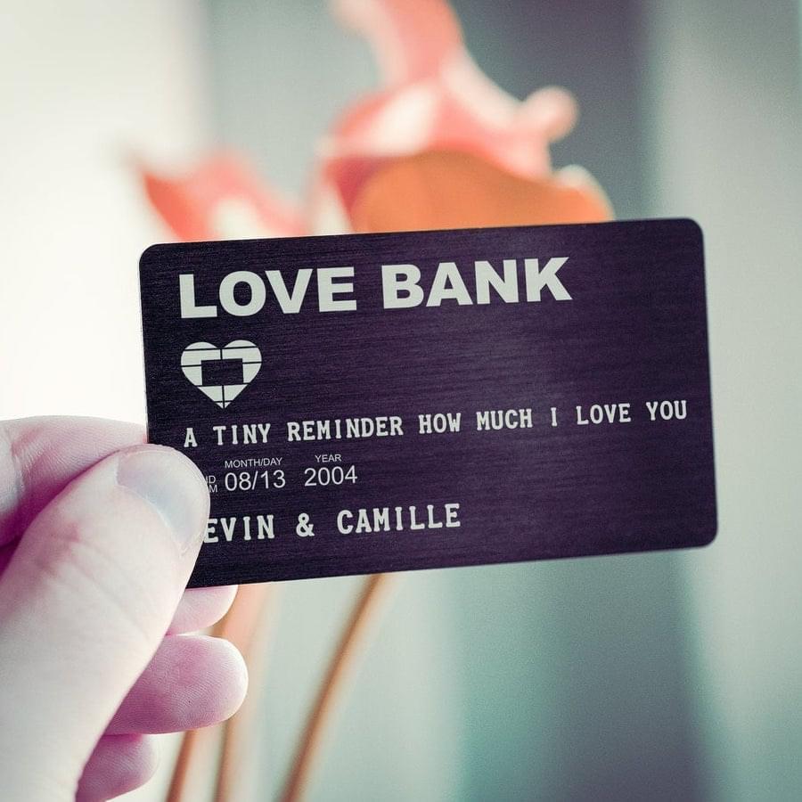 funny wedding anniversary gift: love bank wallet card