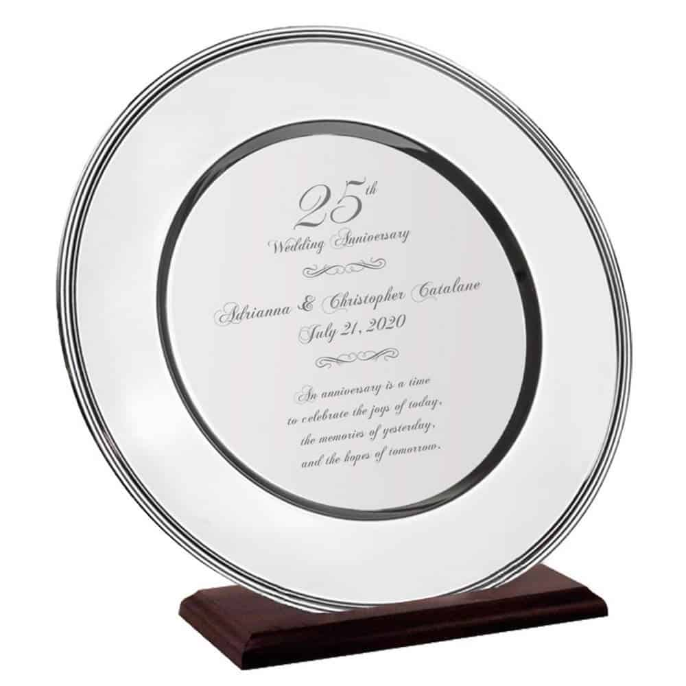personalized silver plate - traditional and modern 25th anniversary gift