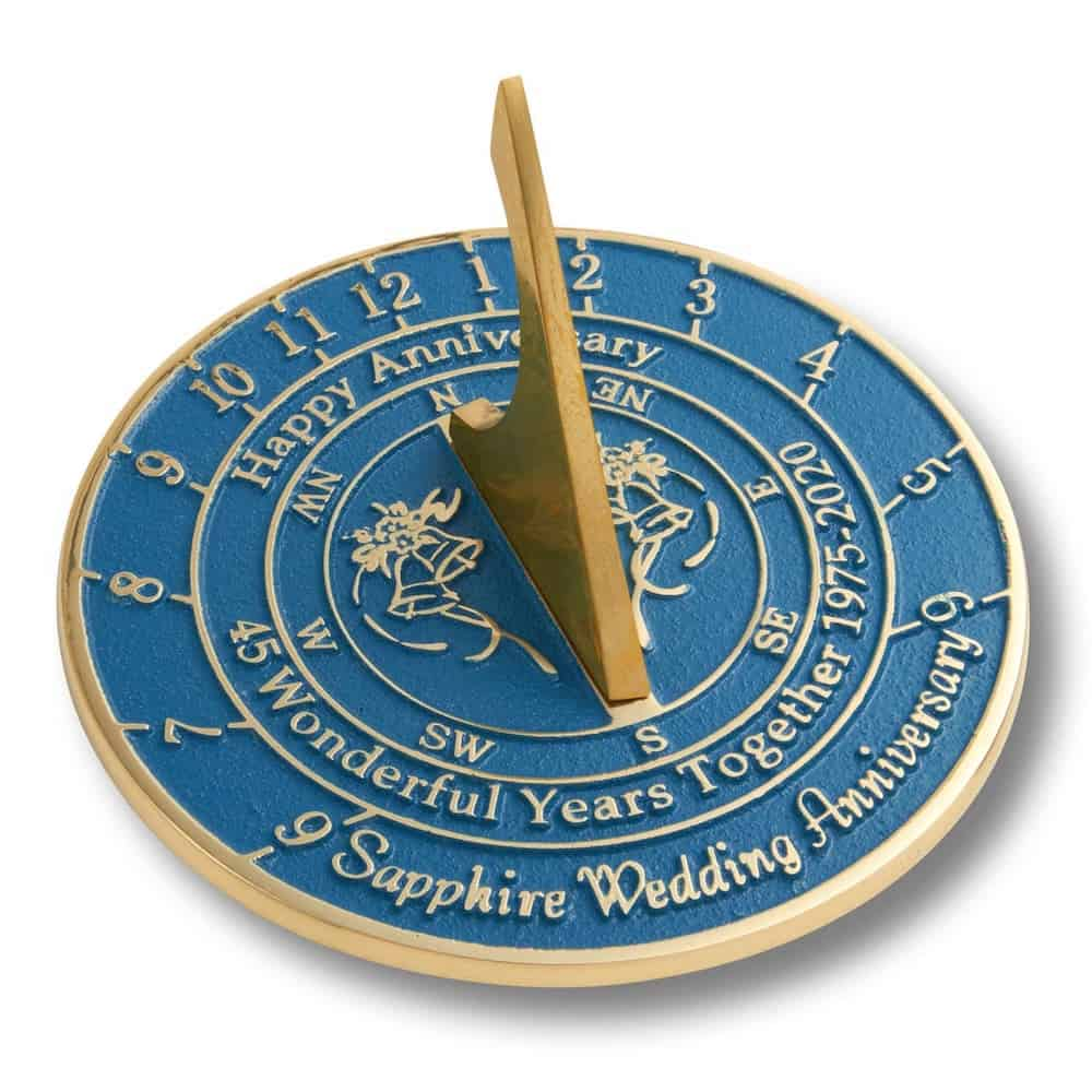 a sun dial: a traditional and modern 45-year wedding anniversary gift
