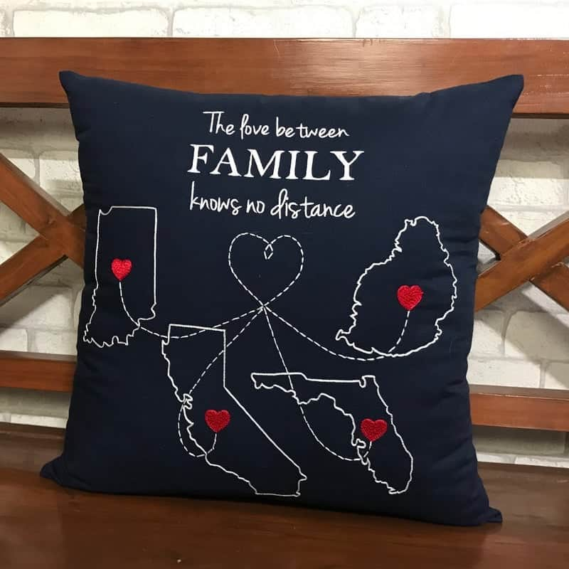 a map pillow gift for dad with a quote about long distance family