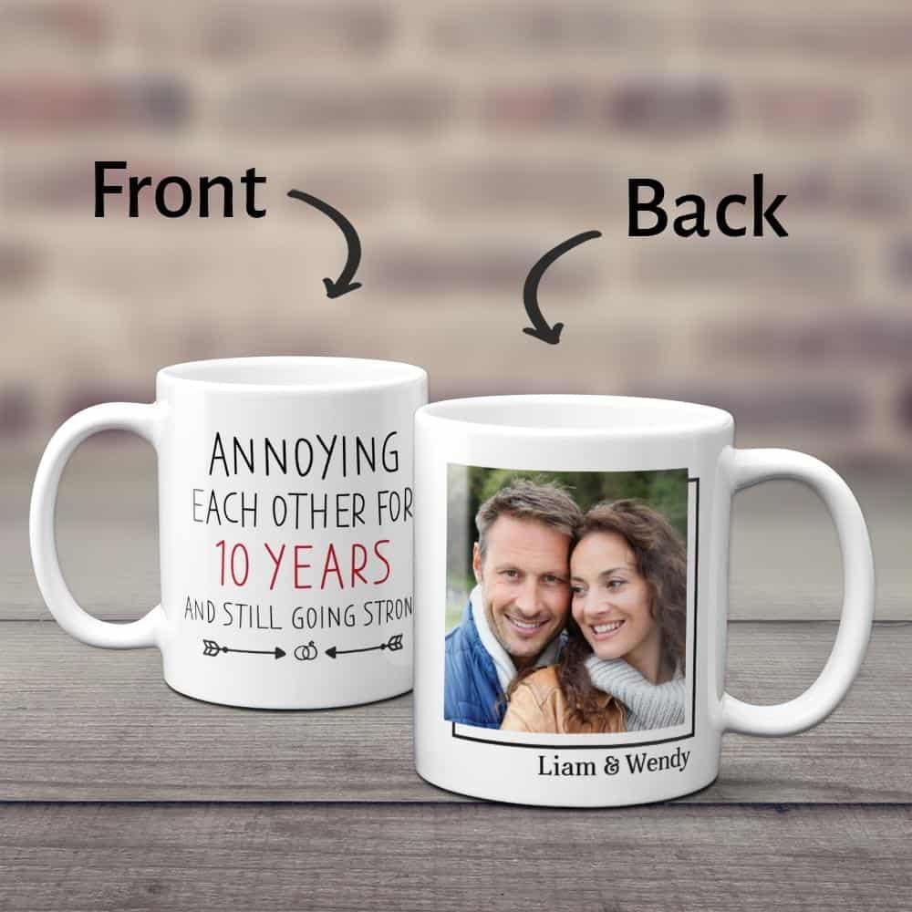 photo coffee mug with a fun anniversary quote