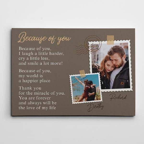 top anniversary gifts for girlfriend: Because Of You Wall Art