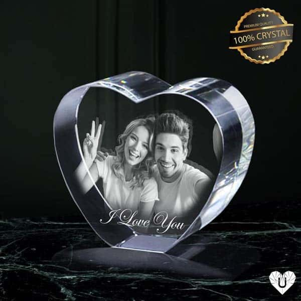 romantic anniversary gifts for girlfriend: Crystal Heart Glass