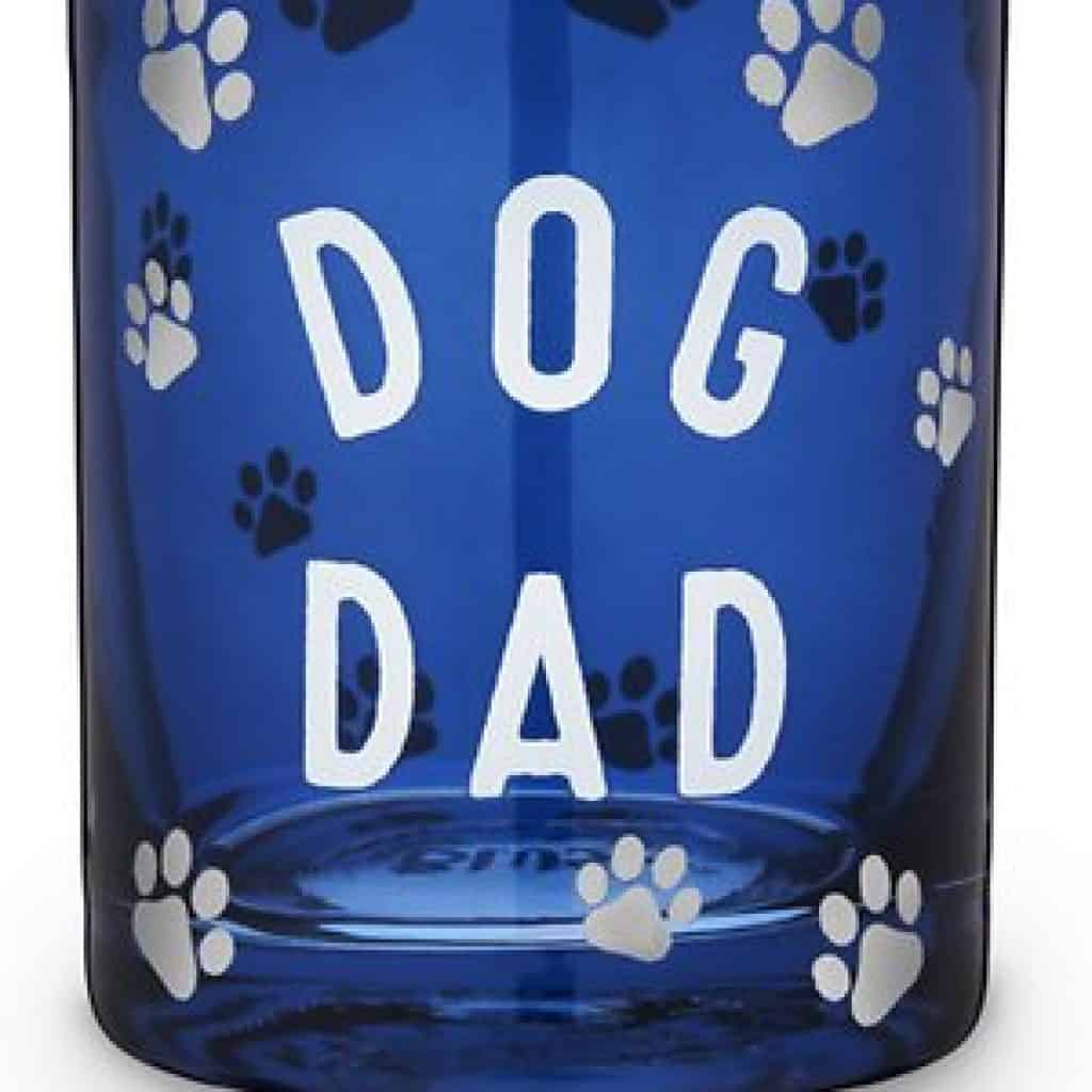 """Cooktail Glass with text """"Dog Dad"""" and dog's footprint"""