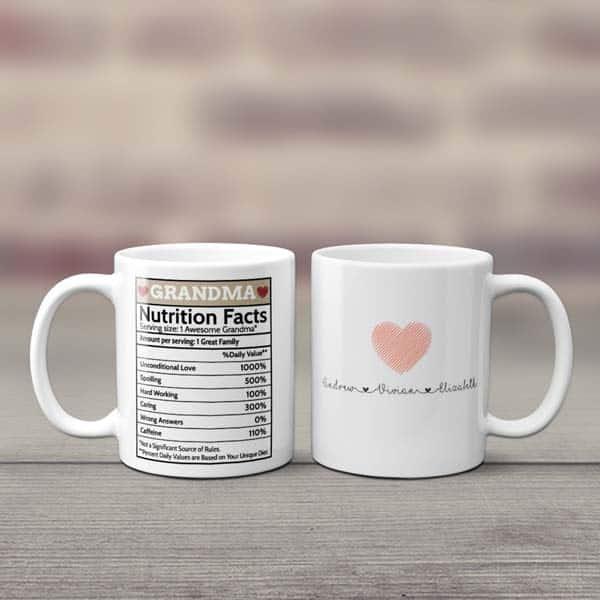 Grandma Nutrition Facts Mug